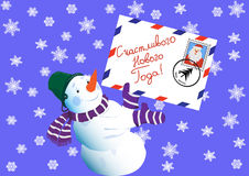 The snowman, wishes happy new year. (russian language) Stock Photos