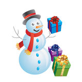 Snowman With Gifts. Stock Photo