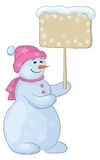 Snowman woman with sign Stock Photos