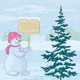 Snowman woman with sign Stock Images