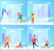 Snowman and Woman Wintertime Vector Illustration. Snowman and woman wintertime collection, snowball and lady happy because of snowflakes, family and kids on sled Royalty Free Stock Photography