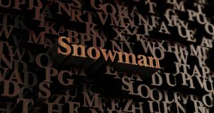 Snowman - Wooden 3D rendered letters/message Stock Image