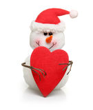 Snowman with wooden red heart Stock Photo
