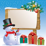 Snowman wooden sign Stock Images