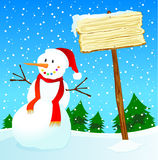 Snowman and wooden sign customizable Royalty Free Stock Photos