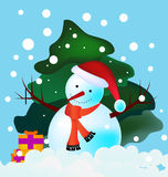 Snowman in woods Royalty Free Stock Photo