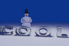 snowman and the word COOL Royalty Free Stock Photos