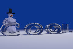 Snowman and the word COOL Royalty Free Stock Image