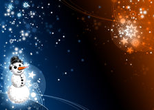 Snowman Xmas Blue and Orange Card Royalty Free Stock Images