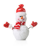 Snowman in xmas red hat isolated Royalty Free Stock Images