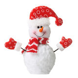 Snowman in xmas red hat isolated. On white background Royalty Free Stock Images