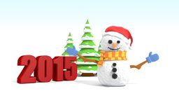 Snowman with xmas tree . 3D illustra. Snowman with xmas tree  on white background. 3D illustration Royalty Free Stock Images