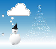 Snowman and Xmas tree Stock Photos