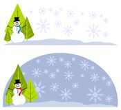 Snowman Xmas Tree Logos Labels Stock Photo
