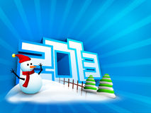 Snowman and Xmas trees decorated background Stock Image