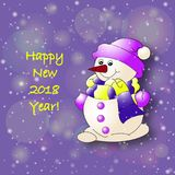 Snowman 2018 year. In colores Royalty Free Stock Photo
