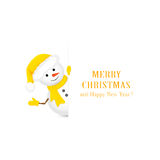 Snowman in yellow hat and Christmas greetings Royalty Free Stock Photography