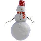 snowmanen 3D med den röda prickiga krukan och rött och vit görade randig scarfen Royaltyfri Illustrationer
