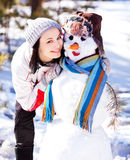 snowmankvinna royaltyfria bilder