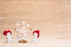 Snowmans и Санта Клаус Стоковые Изображения