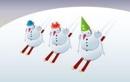 Snowmans на лыжах Стоковая Фотография