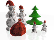 Snowmans. With bag and fir, white reflective background Royalty Free Stock Image