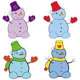 Snowmans. The set with funny snowmans Vector Illustration