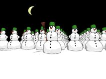 Snowmans army night Royalty Free Stock Image