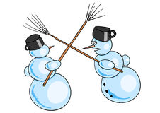 Snowmans battle Royalty Free Stock Photos