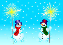 Snowmans and bengal fire. 2 snowmans with a bengal fire on a background of falling snowflakes Royalty Free Stock Photo