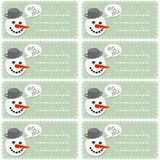 Snowmans on blue polka dots sticker set Stock Images