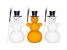 Snowmans with broom and hat Royalty Free Stock Photos