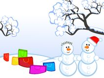 Snowmans-and-buying Royalty Free Stock Images