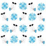 Snowmans e fiocchi di neve su fondo bianco Fotografia Stock Libera da Diritti