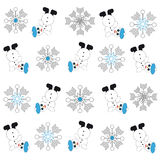 Snowmans e fiocchi di neve su fondo bianco Immagini Stock