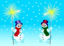 Snowmans e fuoco del Bengala Fotografia Stock Libera da Diritti