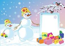 Snowmans especifica los regalos celebradores Imagenes de archivo