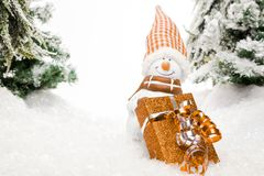 Snowmans Gift Station Royalty Free Stock Image