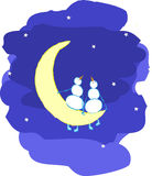 Snowmans_moon. Couple of enamoured snowmen on the moon Stock Images