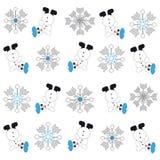 Snowmans och snöflingor på vit bakgrund Stock Illustrationer