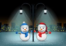 Snowmans pillar and night city Stock Photos