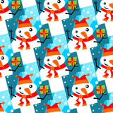 Snowmans seamless pattern Royalty Free Stock Images