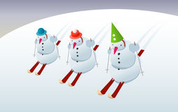 Snowmans on skis. Three snowmans on skis, cartoon illustration Stock Photography