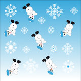 Snowmans and snowflakes on blue background Royalty Free Stock Photography