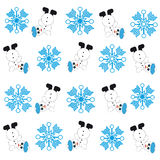Snowmans and snowflakes on white background. Vector illustration Royalty Free Stock Photography