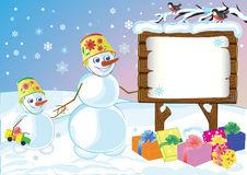 Snowmans specify celebratory gifts Royalty Free Stock Photography