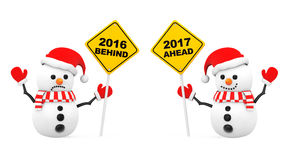 Snowmans with 2016 and 2017 Year Signs. 3d Rendering. Snowmans with 2016 and 2017 Year Signs on a white background. 3d Rendering Stock Image