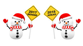 Snowmans with 2018 and 2017 Year Signs. 3d Rendering Stock Images