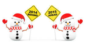 Snowmans with 2015 and 2014 Year Signs. On a white background royalty free illustration