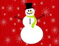 SnowmanSnowflakes på rött royaltyfria foton